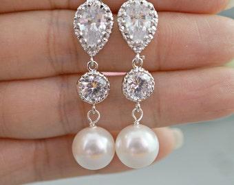 Pearl Wedding Earrings Crystal Pearl Bridal Earrings White Round Swarovski Pearl Earrings