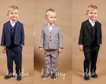 Wedding navy suit Ring bearer outfit Wedding grey suit Wedding boy suit Ring bearer suit Wedding black suit Formal boy suit Boy wedding suit