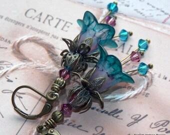 Turquoise Earrings, Flower Earrings, Victorian Earrings, Boho Earrings, Drop Earrings, Handmade Earrings, Teal Earrings, Pink Earrings