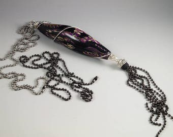 Long Tassel Necklace - Wire Wrapped Black Purple Silver Olive Bullet - Two Ball Chains No. 184