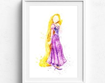 Rapunzel Art, Rapunzel Print, Tangled Disney Watercolor, Disney Painting Nursery Art, Nursery Wall Art, Watercolor Print, Princess Rapunzel