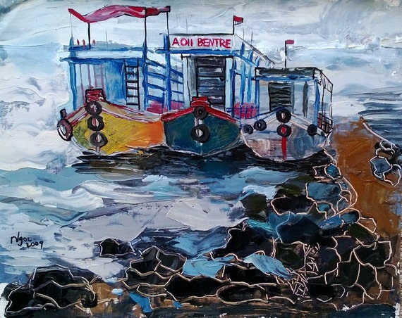 """FERRIES 20x16"""" Oil on Canvas, Live Painting, Nha Trang, Original by Nguyen Ly Phuong Ngoc"""