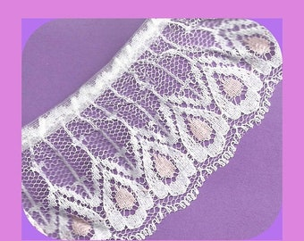 ON SALE LACE White and Pale Pink Lightly Gathered Teardrops 2 Inch Wide Yardage