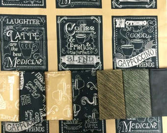 Blend from Windham Fabrics - Chalkboard Coffee Fabric Bundle - Fat Quarters + Panel - Friendship and Coffee