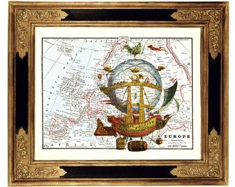 LIMITED Airship Hot Air Balloon Art Print on Vintage Victorian Map Steampunk Poster