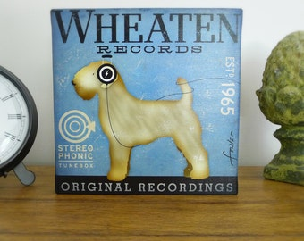Wheaten Terrier Records illustration graphic art on gallery wrapped canvas by stephen fowler