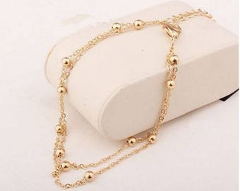 Gold Plated Double Satellite Chain Anklet