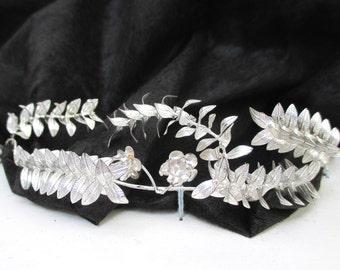 Antique Wedding Crown New in Box Vintage Silver Myrtle Leaf Tiara & Boutonniere Set Bridal Tiara Silver Leaves Art Deco Germany Metal Diadem