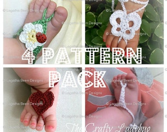 4 PATTERN PACK - you get 4 of my barefoot sandals patterns