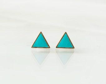 Turquoise triangle stud earrings