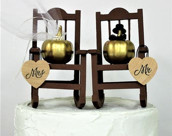 Fall Wedding Cake Topper, Rocking Chair-Pumpkin-Bride-Groom-Gold-Mr and Mrs-Wedding Decor-Funny-Fall Decor-Autumn-Leaves