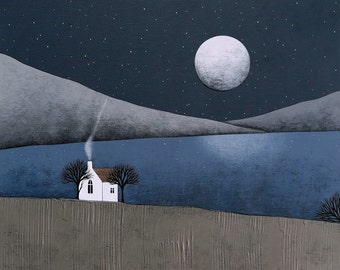 The Quiet Of The Night 3 - Archival 8x8 Art Print - Contemporary Winter Landscape Painting - by Natasha Newton