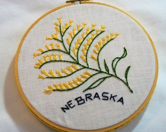 Nebraska Hoop Art, Embroidery Hoop Art, Nebraska State Hoop Art, Nebraska with the state flower Goldenrod