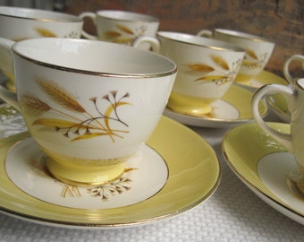 Vintage Autumn Gold Cups and Saucers set of four by Century Service Corp