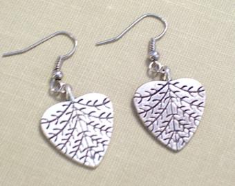 Antiqued Silver Heart Leaf Earrings, Nature Earrings, Pierced Earrings