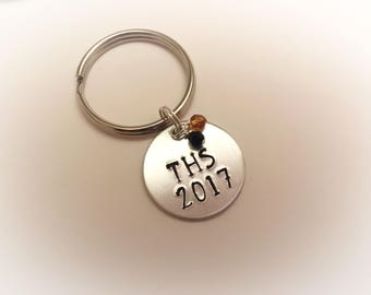 High School, College, School Colors, Hand Stamped, Personalized Keychain, Graduation, New Driver, Customized Keychain