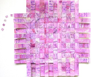 Poetry Paper Weaving- 9x9- All's Right With the World- Handwritten- Robert Browning- Pippa Passes- Pink, Orchid, Lilac