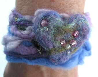 Felted Wrist Cuff / Fibre Art Bracelet / Funky Bracelet