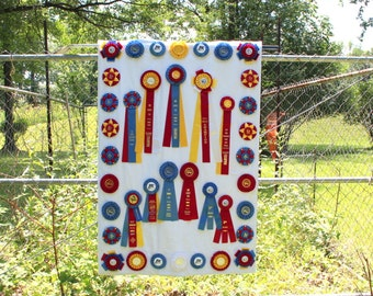 Horse Show Ribbon Memory Quilt Wall Hanging