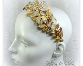 Champagne Gold Leaf headband Tiara Crown Headpiece with Silver Mesh Ribbon and Pearls PP16