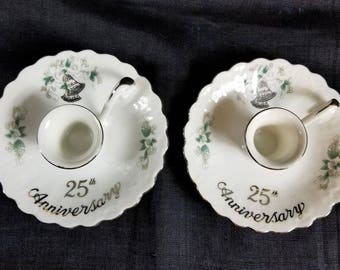 Hand Painted Candle Holders, Vintage Lefton Silver 25th Anniversary Gift, Pair of Silver Bells Candlesticks, Scalloped Edge