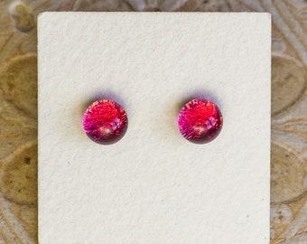 Dichroic Glass Earrings , Petite, Pink  DGE-1423