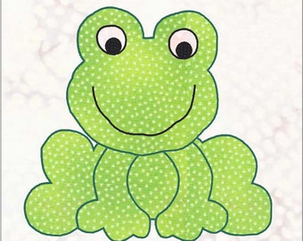 Frog Applique Pattern, Applique Pattern, Quilt Applique, Frog Applique, Little Frog Applique, Applique Design, Applique Block, Frog Template
