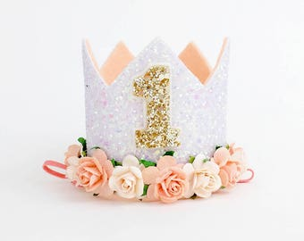 Ready stock - 1st Birthday Crown | 1st Birthday hat | Cake smash outfit girl | 1st Birthday Crown | birthday photo prop | peach apricot