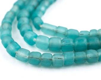 115 Aqua Java Glass Beads - Indonesian Glass Beads - Jewelry Making Supplies - Made in Indonesia ** (JVA-CYL-BLU-304)