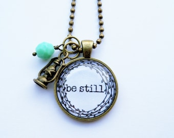 Be Still Necklace - One Word Jewelry - Inspirational Pendant - Text Jewelry - Custom Jewelry - You Choose Bead and Charm
