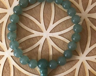 Green Aventurine Power Bracelet - Green Aventurine Beaded Bracelet - 8mm Beads - Heart Chakra - 4th Chakra - Abundance - Energy Healing