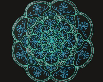 Amaris  Handrawn Mandala Giclee Print Matted