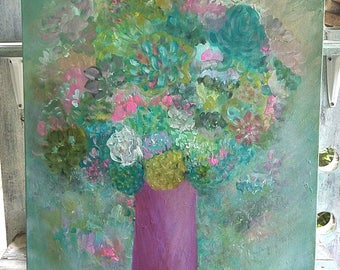 18x20 Abstract Floral Painting on Deep Canvas, Flowers, Vase, Bouquet, Texture