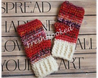 Cute Fingerless Gloves Wrist Warmers Warm Winter Wool Ribbed Cuff
