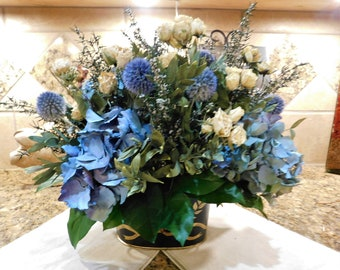 Flower arrangement, Blue Hydrangeas and Roses Dried Flower Arrangement, Wedding Centerpiece