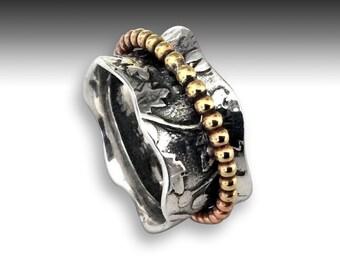 Twotone spinner ring, unisex silver ring, meditation ring, golden brass spinner ring, gypsy ring, twig ring, vine ring, leaf - Change R2194