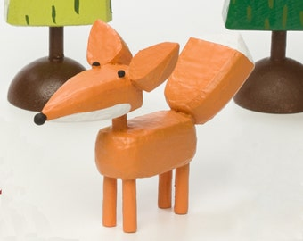 fox figure | fox sculpture | orange fox | christmas putz | tiny forest | build a forest | woodland scene