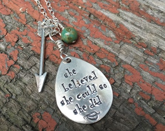 graduation encouragement gift-she believed she could so she did-sterling silver hand stamped jewelry-personalized custom necklace