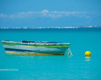 Caribbean photography_ St. Martin_Boat in Turquoise Water_ Tropical Print