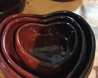 VALENTINES Set of 3 pottery heart bowls