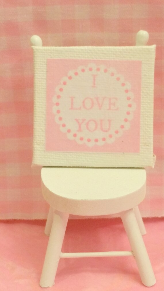 Wedding Signs -Miniature Canvas Picture for Valentines Day (1:12 scale)