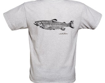 Trout T-shirt ...  FT-16 ST ..    Japanese style fish rubbing.