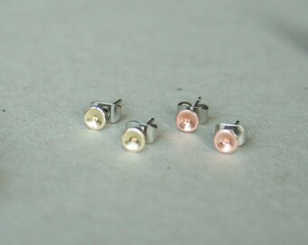 Tiny brass copper studs - mini copper posts - copper brass jewelry - fine domed disc earrings - gold tone brass jewelry - silver studs