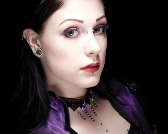 Amethyst necklace choker, Gothic victorian lace choker purple crystal necklace - ANGELIQUE