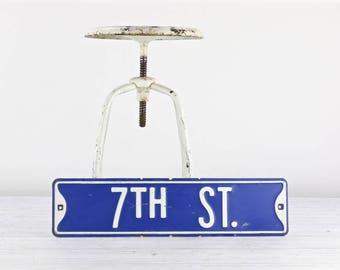 Vintage Street Sign Vintage Road Sign Blue And White Street Sign Old Street Sign Metal Street Sign 7TH Street Sign Industrial Decor