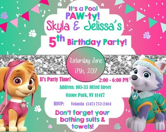 Girl's Paw Patrol Pool Party Invitation