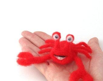 Neede felted Crab - wool felt animal - red crab - beach animal
