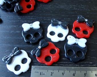 Destash (6) Plastic Skull Bow Rhinestone Buttons Skeleton - for pendants, jewelry making, crafts, scrapbooking, halloween