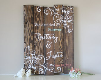 Welcome to our Wedding Sign - Wedding Date Sign - Wedding Decoration - Rustic Wedding Sign - Personalized Wedding Gift - Wooden Wedding Sign
