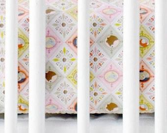 Pink Patchwork Woodland | Born Wild in Pink Crib Sheet